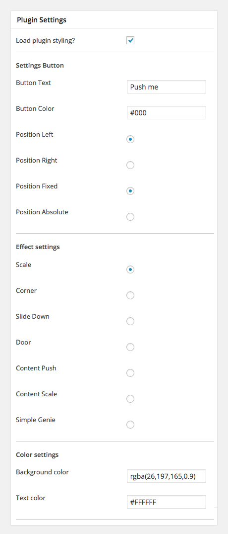 Genesis overlay plugin settings