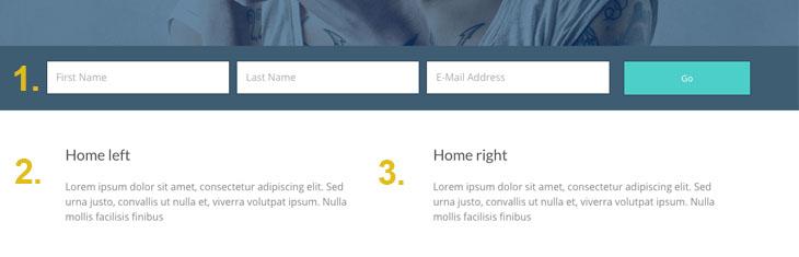 Widget positions homepage
