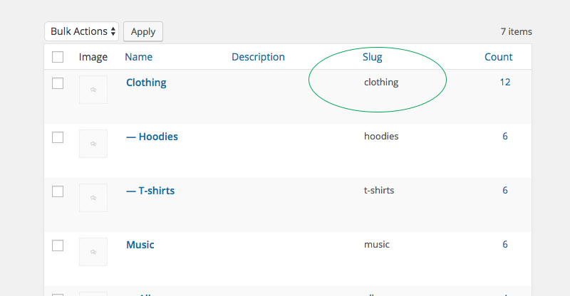 Slug category WooCommerce